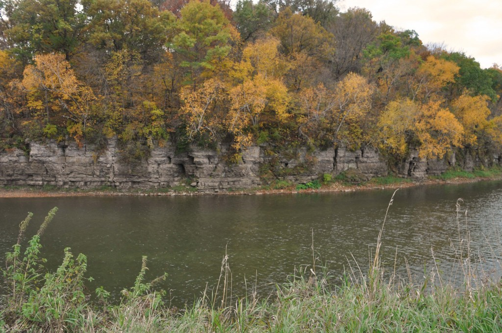Limestone bluffs used to make the Mill. This is across the river from the Mill